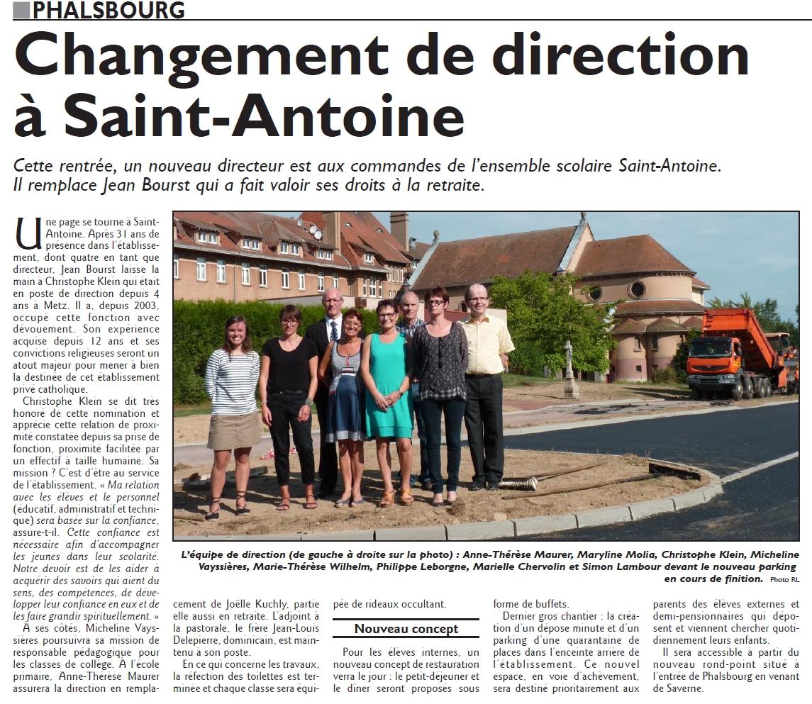 2015 Nouvelle direction à St-Antoine
